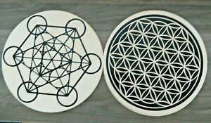 10 Inch Wooden Sacred Geometry Crystals Grid Flower of Life Or Metatron's Cube B