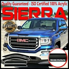 Fits 14-19 GMC Sierra Crew Cab Window Rain Guard Deflector Sun Visors Vent Shade