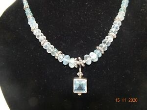 Aquamarine & Pearl  Necklace with Sterling Silver beads.