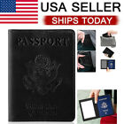 Leather Passport Travel Wallet Blocking Case Cover Holder For Vaccine Card