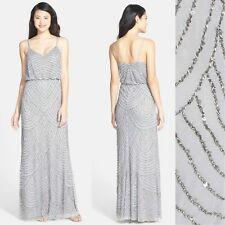NWT Adrianna Papell Embellished Blouson Gown Silver [SZ 12 ] #e278