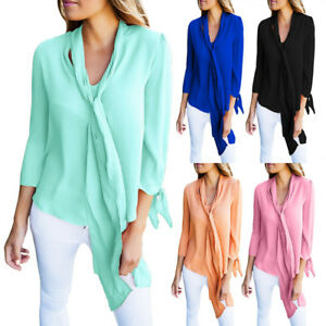 Women V Neck Loose Long Sleeve Business Office Casual Tops Tie Neck Blouse Shirt