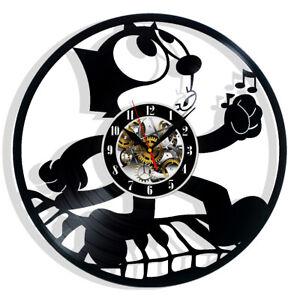 Felix the Cat Cartoon Vinyl Wall Clock Record Gift Decor Sign Feast Day Art