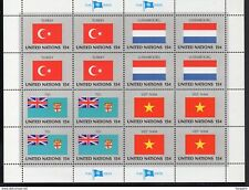 ✔️ UN UNITED NATIONS FLAG SERIES FDC SHEET OF 16 STAMPS **MNH TURKEY LUXEMBOURG
