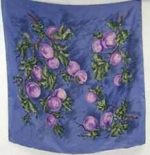 Original Designer Vintage 1950s Jean Desses Plum Tree Silk Scarf, Vintage Scarf