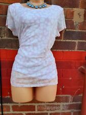 PHASE EIGHT BLOUSE SIZE 18 Lined pale Pink white Lace Top stretchy ruching