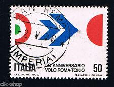 ITALIA 1 FRANCOBOLLO VOLO ROMA-TOKIO 50 LIRE 1970 timbrato