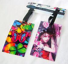 Nuevo conjunto 3d Holográfica Etiquetas de equipaje ID Etiquetas Mariposas coloridas & Girl RSW