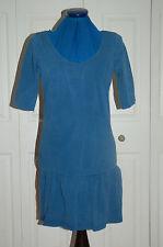 New Sz 10 Denim blue Stone Washed Jersey Skater dress Tunic lower peplum skirt