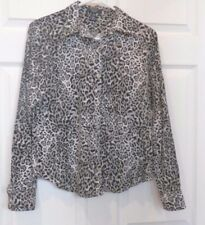 Animal Print Petite Med Button Down Fitted Blouse Shirt black white Gray 100%Cot