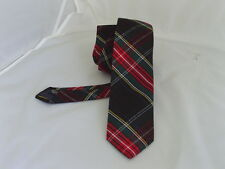 "(14G) Tartan-Black/Red/Green Mens Skinny Tie-2.5""=6cm Width-P&P 2UK >1st Class"