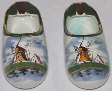 Gouda Art Pottery Windmill Hand Painted Clog Shoe Holland Ashtray Collectable