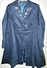 """Torrid~Hello Kitty"" Coat~Velvet~Navy~Embroidery~Lined~Button/Lace-Up~2~NWT"