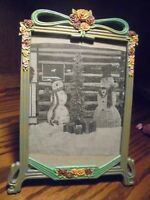 "Vtg Ornate Metal Photo Frame Multicolor Roses w/Green Ribbon/Bow 5x7"" Photo   61"