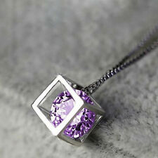 Fashion Womens Silver Plated Purple Crystal Rhinestone Necklace Pendant Jewelry