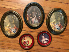 Assorted Mcm Lot 5 Vtg Wall Picture Frames Oval Famous Art Made In Italy
