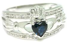 Natural Claddagh Sapphire & 20 Diamond 9K 9ct 375 Solid White Gold Celtic Ring