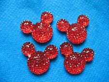 10 X 14MM RED MINNIE MICKEY MOUSE GLITTER FLAT BACK RESIN HEAD GEMS HEADBANDS
