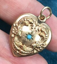 "10K Yellow Gold Carved Heart Pendant w Gypsy-Set Turquoise. Large 1""--K3L6J"