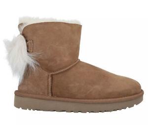UGG AUSTRALIA Womens Shearling Boots EU39 UK6 US8 Fluff Bow Min Chestnut RRP£275