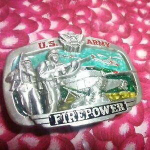 U.S. ARMY FIREPOWER BELT BUCKLE PEWTER 1983