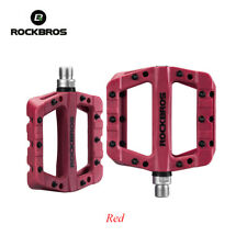 ROCKBROS MTB Bicycle Cycling Pedal Comfortable Bearing Nylon Wide Pedals Red