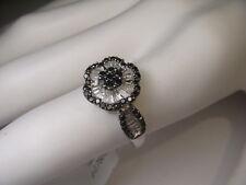 Stunning Estate 14K White Gold Black Diamond Floral Flower Ring