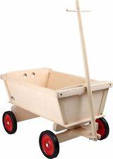 Carro de mano para niños de madera natural color niños Carro de madera Transporte compañero