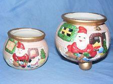 Christmas Santa Claus Ceramic Tea Light Candle Holders Decorations