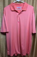 Mens Greg Norman Golf Polo Orange Stripped Shirt Size Xl