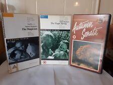 3x Ingmar Bergman classics VHS not Pre Cert Virgin Spring Autumn Sonata Magician