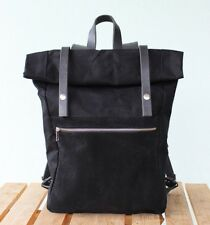 Waxed canvas backpack rolltop with black leather and suede, Phestyn