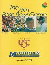 Football 76th Rose Bowl Game 1990 Media Guide Michigan VS USC Trojans