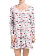 NWT Carole Hochman Women's Sleepwear Holiday Scene Nightshirt Long Sleeve size M