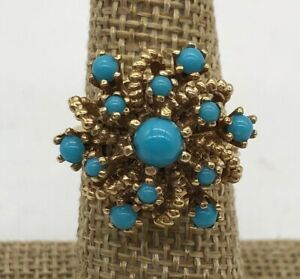 Vintage 14k Yellow Gold TURQUOISE Basket Ring--Sz 7.25