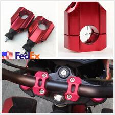 "2 Pcs 1/8"" 28mm Red Aluminium Motorbike ATV Handlebar Mount Riser Clamp US Stock"