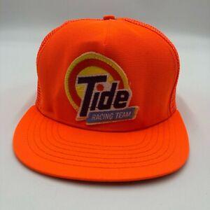 Vintage Tide Racing Team Trucker Hat Cap Orange Snap Back