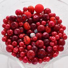 "ROCKIN RED Glass Bead Soup Mix, 2"" x 3"" bag bgl0259"