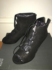 New EILEEN FISHER Slew tumbled  nubuk black leather shoes 7  M Matte $275