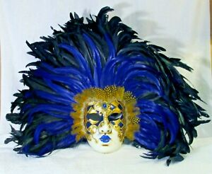 Extra Large La Maschera Del Galeone Blue and Black Feathered Wall Mask
