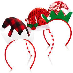 3x Haarreif Weihnachten - Weihnachtsmütze - Verkleidung Weihnachtself