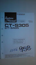 Pioneer ct-s305 s405 service manual original repair book stereo tape deck player
