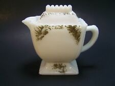 Antique Victorian Milk Glass Cramer Pitcher with Lid Filigree White Hand painted