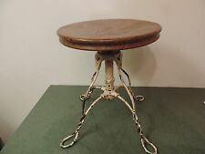 Antique Steampunk Piano Stool Cast Iron Drafting Adjustable Wrought  Industrial