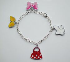 Disney Minnie Mouse Enamel Handbag Glove Charm Bracelet Christmas Birthday Gift