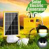 Solar Panel Generator System Portable Home Kit LED Light USB Charger W/ 2 Bulbs