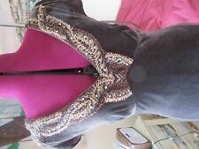 JOHN LEWIS Vintage cap sleeve brown velvet sequined neck full length Dress UK 12