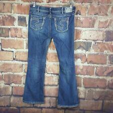 Silver Suki Jeans Boot Cut Women's Size 32 Distressed White Stitching