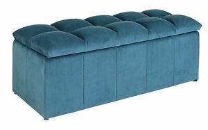 Home Maisie Velvet Ottoman - Blue