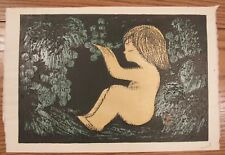 "Signed Kaoru Kawano (1916-1965) Japanese artist woodblock print child 11x16.5"""